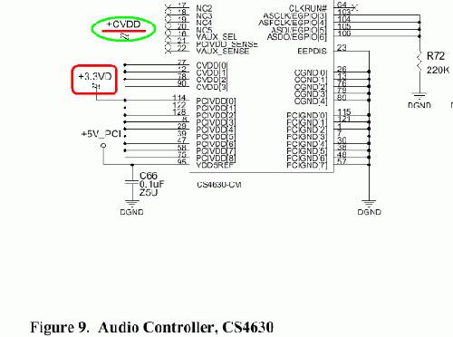 再看第18页中的cs4630主芯片电路原理图,很清查知道有俩组相互独立